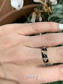 Victorian 15ct Yellow Gold Black Enamel And Pearl Ring
