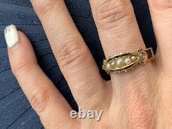 Victorian 15ct Yellow Gold Pearl 5 Stone Rose Cut Diamonds Black Enamel Ring