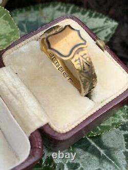 Victorian 15ct Yellow Gold Shield Front Black Enamel Hair Bond Ring