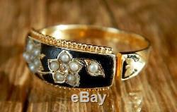 Victorian (1896) 15ct Gold Black Enamel Diamond Mourning Ring Valued £850
