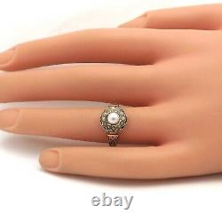 Victorian 18k Gold Akoya Seed Pearl Halo Black Enamel Ring sz6