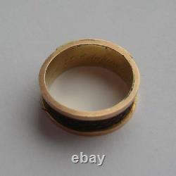 Victorian 9K Gold Chester 1889 Inscribed Black Enamel & Hair Mourning Ring Boxed