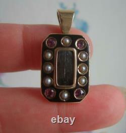 Victorian 9ct Gold Seed Pearl Pink Gem Set Black Enamel Mourning Locket Pendant
