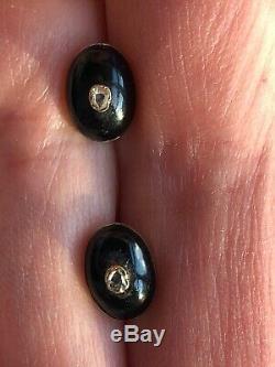 Victorian Antique Mourning Black Enamel Diamond Earrings 9ct Rose Gold