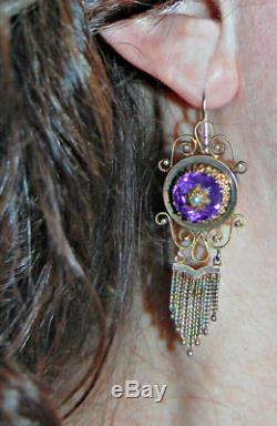 Victorian BROOCH & EARRING SET 14K GOLD, Amethysts, Pearls, Black Enamel (4X10)