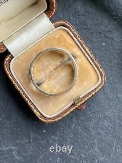Victorian Black Enamel Yellow Gold Mourning Band Ring Shield Front