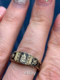 Victorian Blacks Enamel And Pearl Morning Ring 15ct Yellow Gold