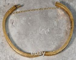 Victorian Circa 1880's 14K Yellow Gold Black Enameled Bangle Cuff