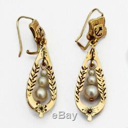 Victorian Dangle Pearl Earrings Black Enamel 14 K Gold