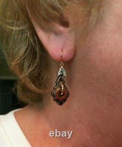 Victorian Earrings 12 Karat Gold Black Enamel Inlay, Excellent Condition