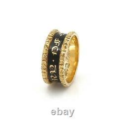 Victorian Era 18k Gold Black Enamel Mourning Ring In Memory Of 1828 #j4704-4