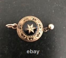 Victorian Etruscan Locket Rose Gold Black Enamel Star c1860 Mourning Pendant