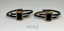 Victorian Pair of Black Enamel Gold Filled Bangle Bracelets c. 1879