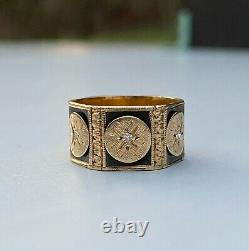 Victorian Revival 14K Gold and Diamond Black Enamel Wide Eternity Band Ring
