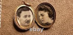 Victorian gold with black enamel cross photo locket