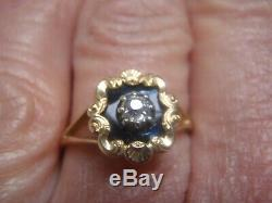 Victorian natural mined Diamond Black Enamel 18Carat Yellow Gold Mourning Ring P