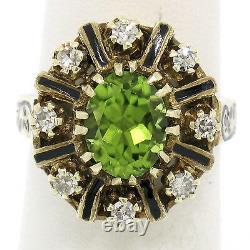 Vintage 14K Yellow Gold 2.43ctw Oval Peridot Diamond & Black Enamel Halo Ring