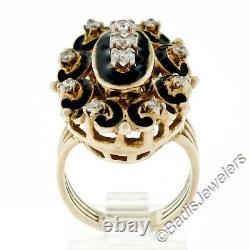 Vintage 14K Yellow Gold. 70ct Brilliant Diamond Black Enamel Large Cocktail Ring