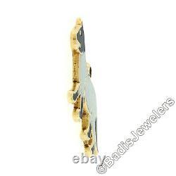 Vintage 14K Yellow Gold Panther Cat White Black Enamel Collectible Charm Pendant