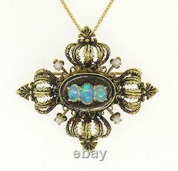 Vintage 14k Green Gold Opal Pearl & Black Enamel Pendant Brooch Pin with Chain