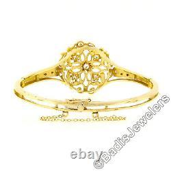 Vintage 14k Yellow Gold 0.50ctw Diamond & Black Enamel Open Work Bangle Bracelet