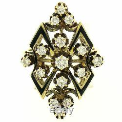 Vintage 14k Yellow Gold. 90ctw Round Diamond Black Enamel Marquise Cocktail Ring