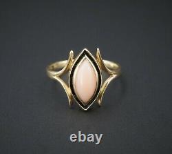 Vintage 14k Yellow Gold Angel Skin Coral Black Enamel Ring Size 6 RG2697