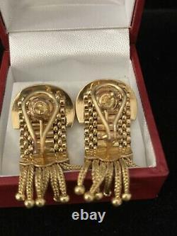 Vintage 14k Yellow Gold Black Enamel Belt Buckle Style Dangle Earrings Rare