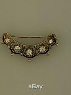 Vintage 14k Yellow Gold Diamond Crescent Moon Brooch Pin Black Enamel 1/3ctw