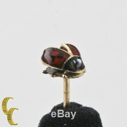 Vintage 14k Yellow Gold Lady Bug Pin Brooch Black and Red Enamel Germany