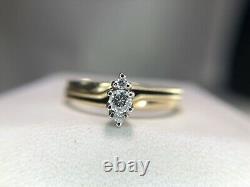 Vintage 14k Yellow Gold Round Brilliant Diamond Black Enamel Engagement Ring