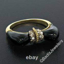 Vintage 18K Yellow Gold Round Single Cut Diamond Black Enamel Cat Ears Ring S5.5
