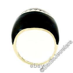 Vintage 18k Yellow Gold Diamond Wide Eye Shaped Black Enamel Dome Cocktail Ring