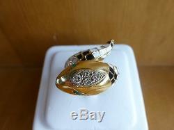 Vintage 18k yellow gold white black enamel diamond emerald snake ring 6.25 17.6g