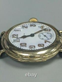Vintage 1947 Waltham 14K Gold ROY Case Military Style Enamel Dial Wristwatch