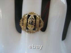 Vintage 1949 Signed Josten 10k Yellow Gold Black Enamel Class Ring Size 5.25