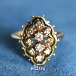 Vintage. 35 Carat Diamond 14Kt Gold Black Enamel Cocktail Dinner Size 6 1/2 Ring