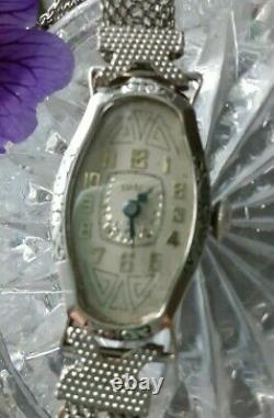 Vintage Antique Ladies Art Deco Black ENAMEL Times Watch Mesh Bracelet Band