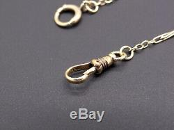 Vintage Antique Solid 14k Yellow Gold Black Enamel Pocket Watch Chain 14.5 inch