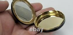 Vintage Art Deco 14K SOLID GOLD Black Enamel Makeup Lipstick Compact Vanity Set