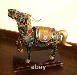 Vintage Bejeweled Cloisonne charm Enameled gold Lucky black Horse Wooden Stand