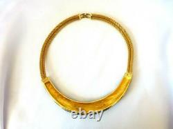 Vintage Christian DIOR Gold-tone Mesh Black Enamel Rhinestone Torque Necklace