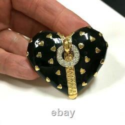 Vintage D'ORLAN (Boucher) Black Enamel ZIPPER HEART Brooch Rhinestone Gold MM9ZX