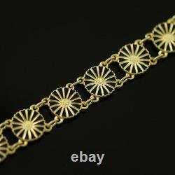 Vintage Danish Gilded Silver Daisy Bracelet with Black Enamel Bernhard Hertz