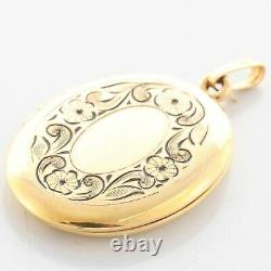 Vintage Estate 14k Yellow Gold Engraved Flower Black Enamel Locket Pendant