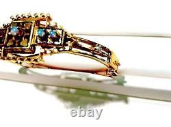 Vintage Estate 14k Yellow Gold Opal, Pearl & Black Enamel Bangle Bracelet