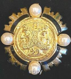 Vintage Fendi Black Enamel Gold Plated Janus Brooch