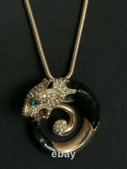 Vintage French Designer Necklace Gold & Black Panther, enamel, Tubogas chain