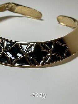 Vintage Givenchy Gold Tone Hinged Black Enamel Collar Necklace