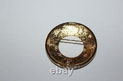 Vintage Givenchy Logo Brooch In Black Enamel And With Gold Gilt Lettering